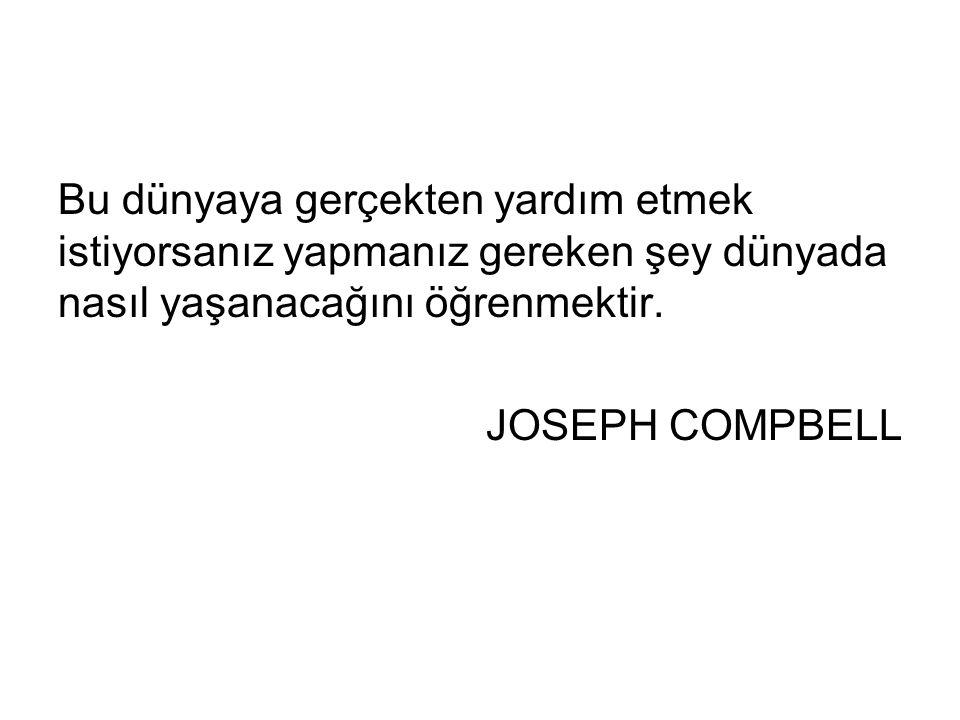 Bu dünyaya gerçekten yardım etmek istiyorsanız yapmanız gereken şey dünyada nasıl yaşanacağını öğrenmektir. JOSEPH COMPBELL