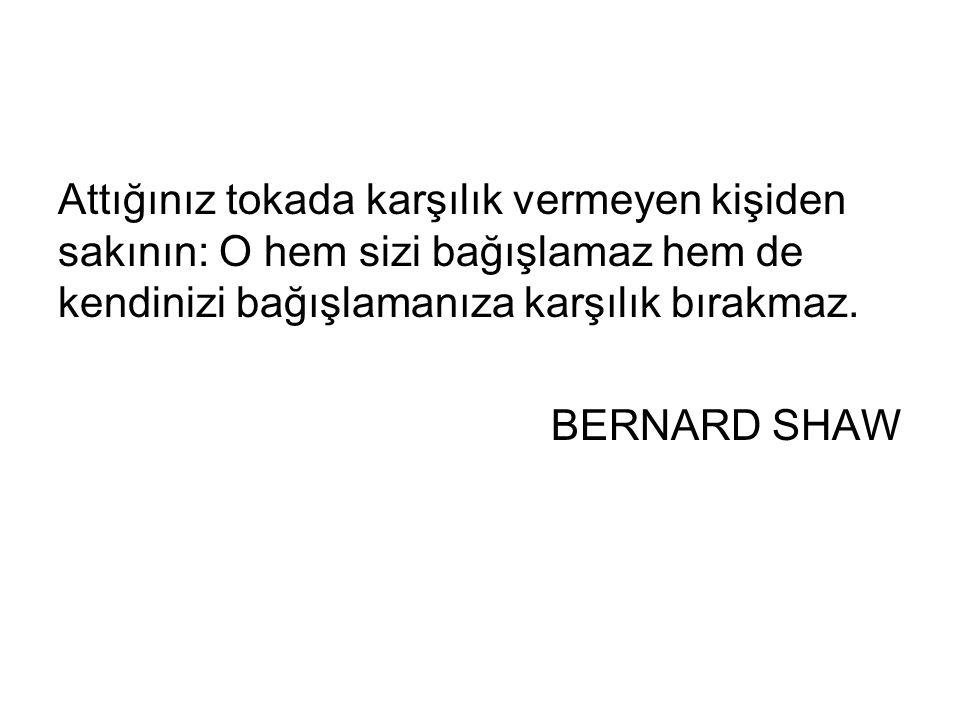 Attığınız tokada karşılık vermeyen kişiden sakının: O hem sizi bağışlamaz hem de kendinizi bağışlamanıza karşılık bırakmaz. BERNARD SHAW