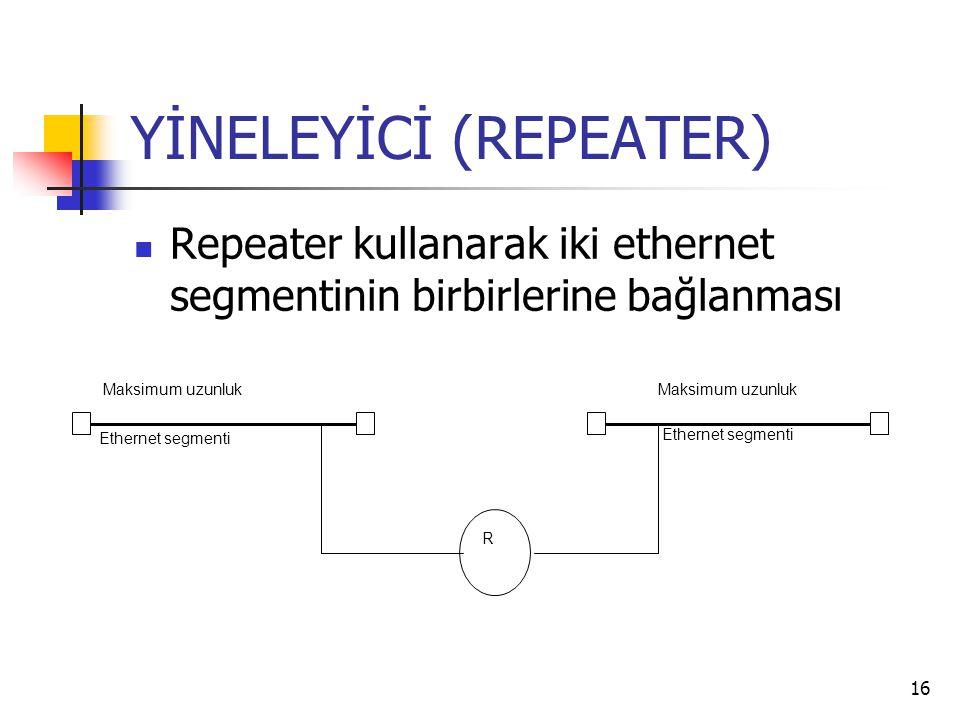 16 YİNELEYİCİ (REPEATER) Repeater kullanarak iki ethernet segmentinin birbirlerine bağlanması R Maksimum uzunluk Ethernet segmenti