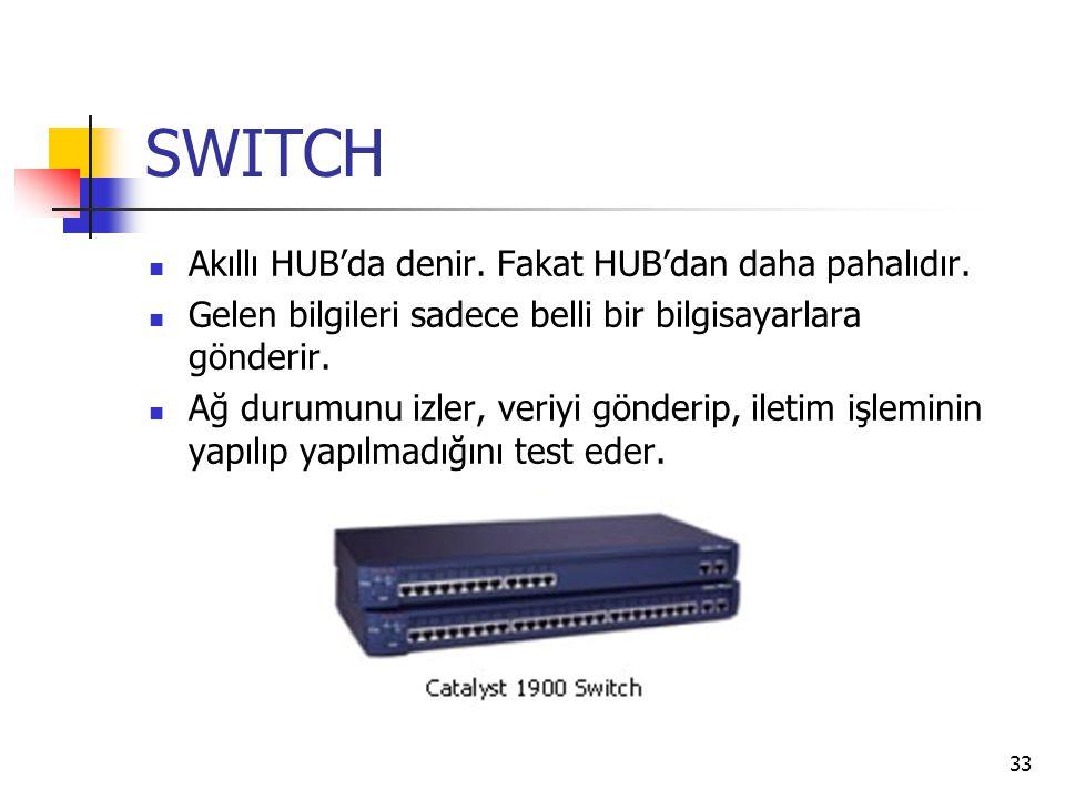 33 SWITCH Akıllı HUB'da denir. Fakat HUB'dan daha pahalıdır. Gelen bilgileri sadece belli bir bilgisayarlara gönderir. Ağ durumunu izler, veriyi gönde