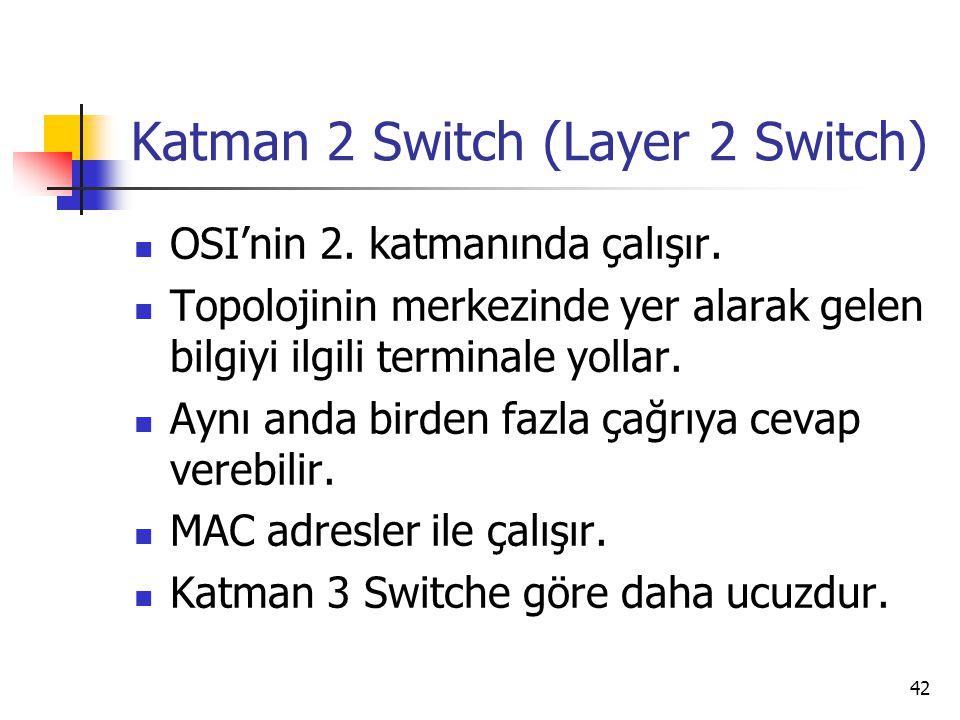 42 Katman 2 Switch (Layer 2 Switch) OSI'nin 2. katmanında çalışır. Topolojinin merkezinde yer alarak gelen bilgiyi ilgili terminale yollar. Aynı anda