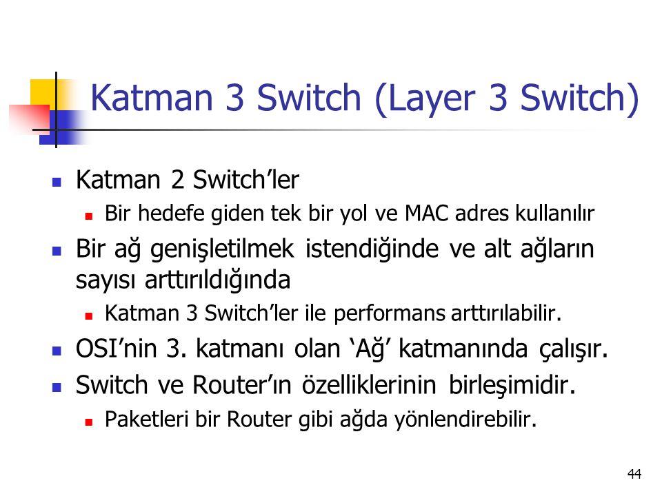 44 Katman 3 Switch (Layer 3 Switch) Katman 2 Switch'ler Bir hedefe giden tek bir yol ve MAC adres kullanılır Bir ağ genişletilmek istendiğinde ve alt