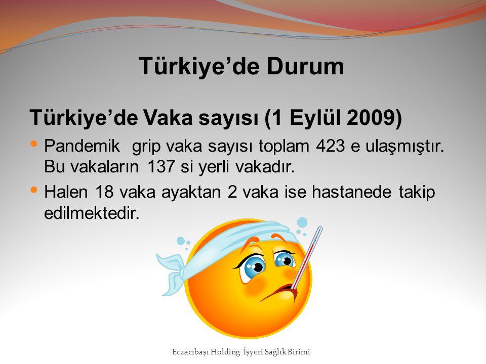 Türkiye'de Vaka sayısı (1 Eylül 2009) Pandemik grip vaka sayısı toplam 423 e ulaşmıştır.