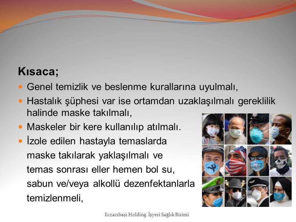 Kısaca; Genel temizlik ve beslenme kurallarına uyulmalı, Hastalık şüphesi var ise ortamdan uzaklaşılmalı gereklilik halinde maske takılmalı, Maskeler bir kere kullanılıp atılmalı.
