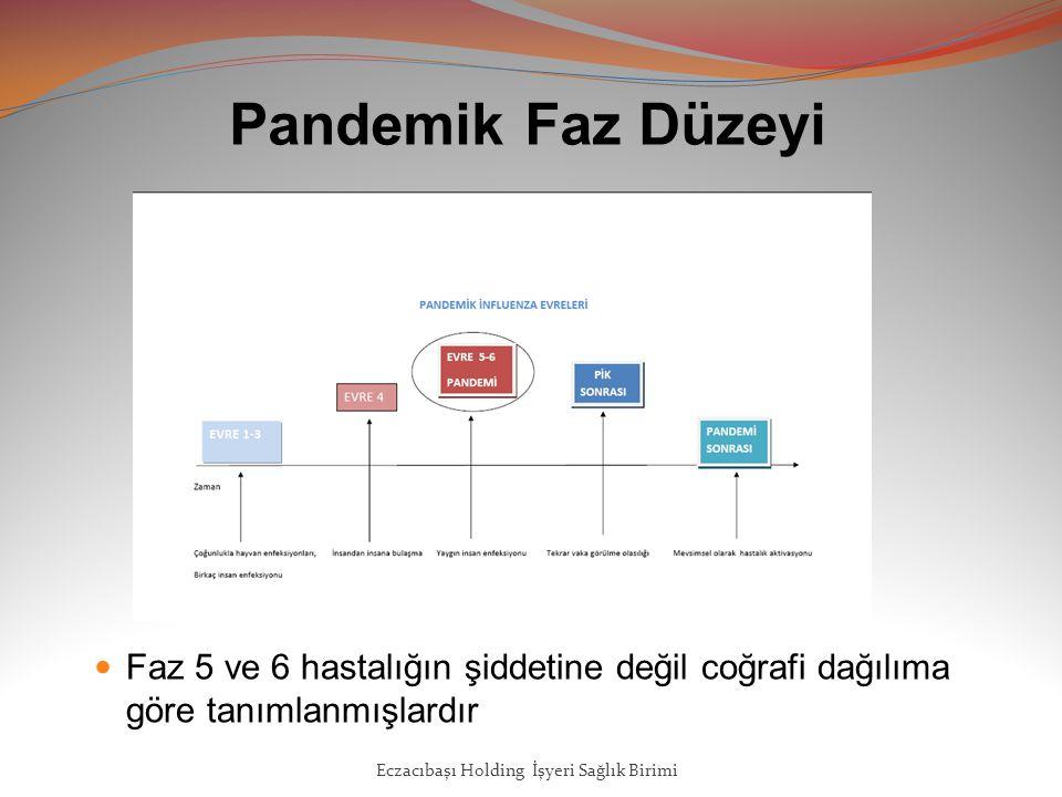 Pandemik Faz Düzeyi Faz 5 ve 6 hastalığın şiddetine değil coğrafi dağılıma göre tanımlanmışlardır Eczacıbaşı Holding İşyeri Sağlık Birimi
