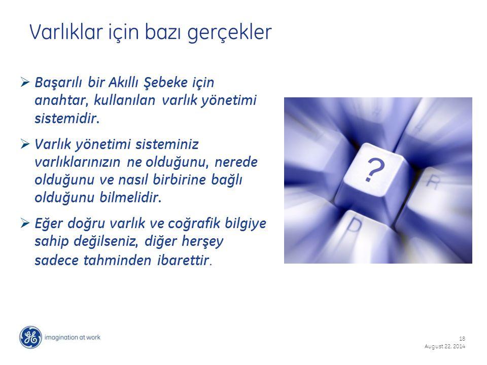 18 August 22, 2014  Başarılı bir Akıllı Şebeke için anahtar, kullanılan varlık yönetimi sistemidir.