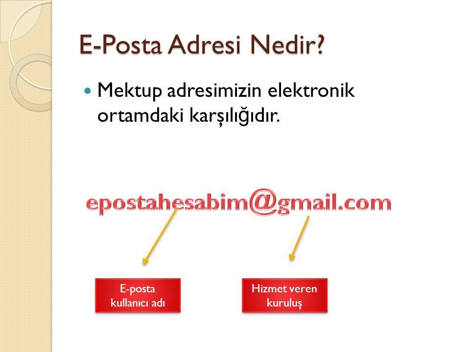 E-Posta Adresi Nedir? Mektup adresimizin elektronik ortamdaki karşılı ğ ıdır. E-posta kullanıcı adı Hizmet veren kuruluş