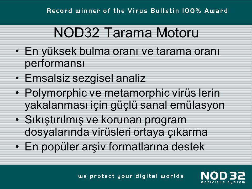 NOD32 Tarama Motoru En yüksek bulma oranı ve tarama oranı performansı Emsalsiz sezgisel analiz Polymorphic ve metamorphic virüs lerin yakalanması için güçlü sanal emülasyon Sıkıştırılmış ve korunan program dosyalarında virüsleri ortaya çıkarma En popüler arşiv formatlarına destek