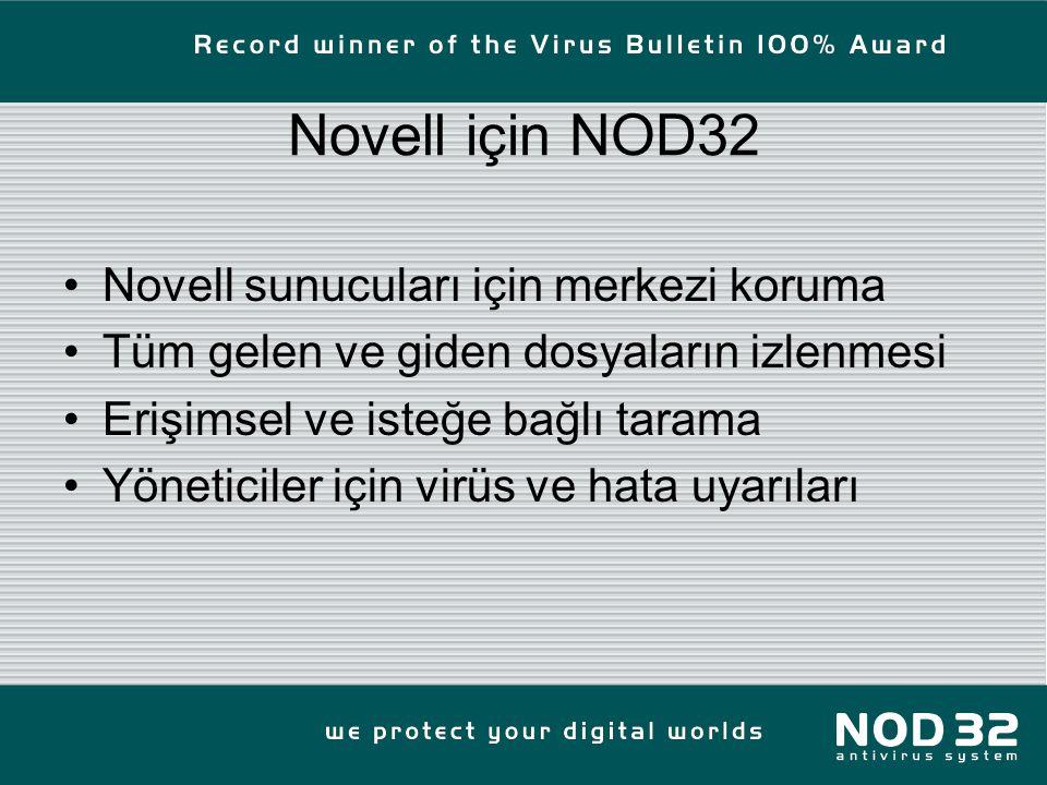Novell için NOD32 Novell sunucuları için merkezi koruma Tüm gelen ve giden dosyaların izlenmesi Erişimsel ve isteğe bağlı tarama Yöneticiler için virüs ve hata uyarıları