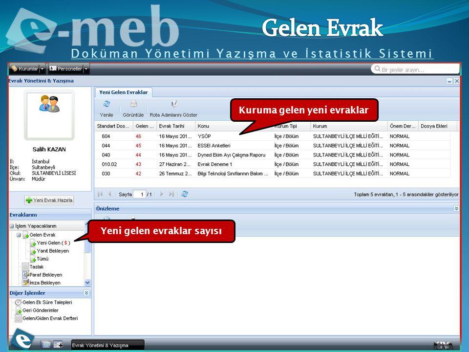 Doküman Yönetimi Yazı ş ma ve İ statistik Sistemi Kuruma gelen yeni evraklar Yeni gelen evraklar sayısı
