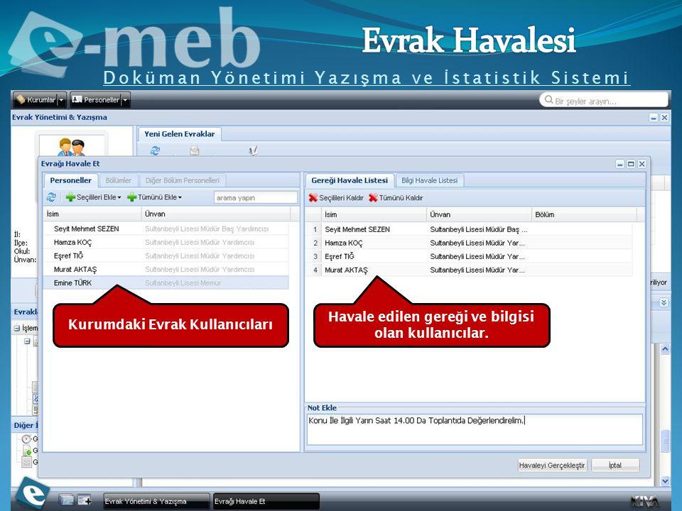 Doküman Yönetimi Yazı ş ma ve İ statistik Sistemi Kurumdaki Evrak Kullanıcıları Havale edilen gere ğ i ve bilgisi olan kullanıcılar.