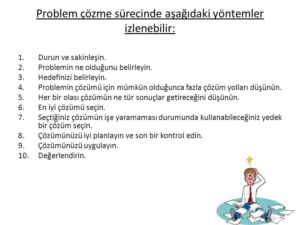 Problem çözme sürecinde aşağıdaki yöntemler izlenebilir: 1.Durun ve sakinleşin. 2.Problemin ne olduğunu belirleyin. 3.Hedefinizi belirleyin. 4.Problem
