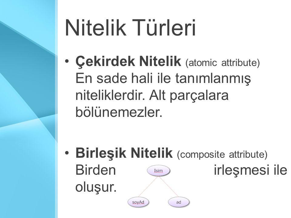 Nitelik Türleri Çekirdek Nitelik (atomic attribute) En sade hali ile tanımlanmış niteliklerdir.