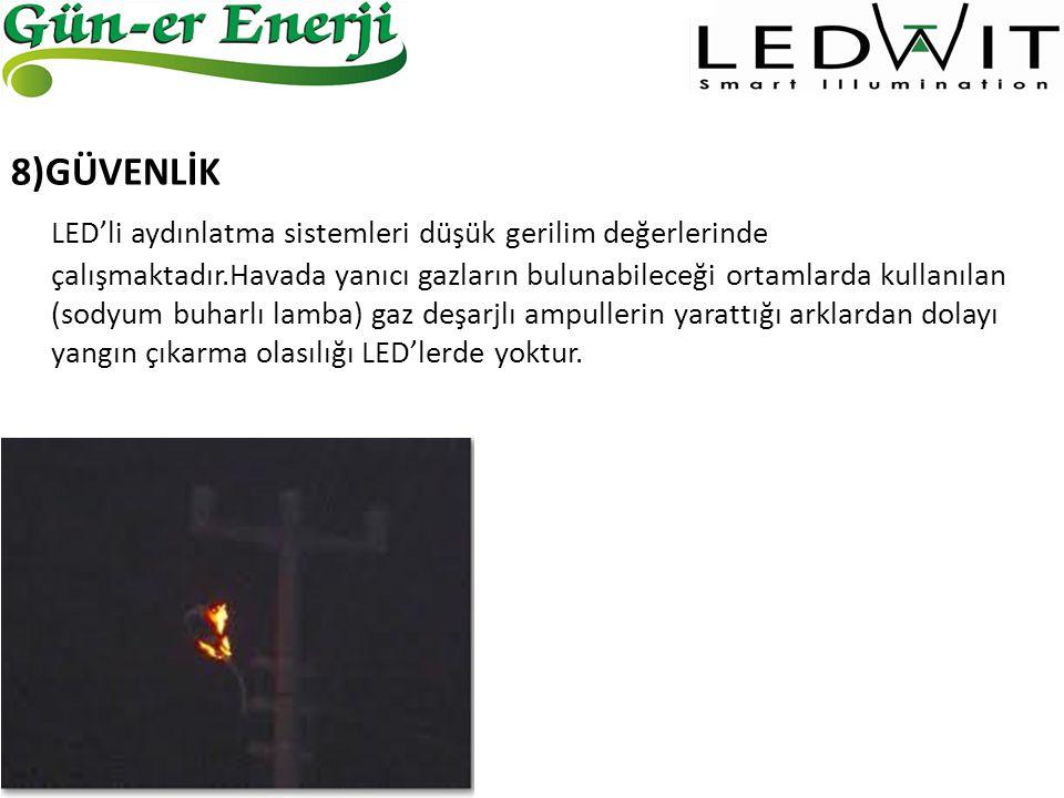 8)GÜVENLİK LED'li aydınlatma sistemleri düşük gerilim değerlerinde çalışmaktadır.Havada yanıcı gazların bulunabileceği ortamlarda kullanılan (sodyum b