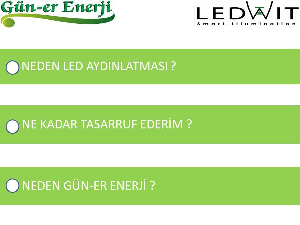 1)YÜKSEK IŞIK VERİMİ Geleneksel ışık kaynaklarında enerjinin çoğu ısıya dönüşürken LED'lerde bu oran çok daha azdır.