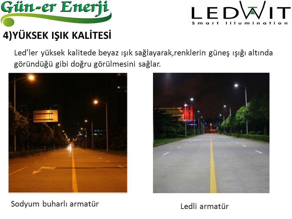 LED SODYUM BUHARLI (400W) YILLIK HARCADIĞI ENERJİ 548 kWh2277 kWh YILLIK ENERJİ TUTARI 168 TL696 TL YILLIK BAKIM MALİYETİ 110 TL Bir armatürün enerji tasarrufundan elde edilecek net kar yaklaşık 638 TL civarındadır.