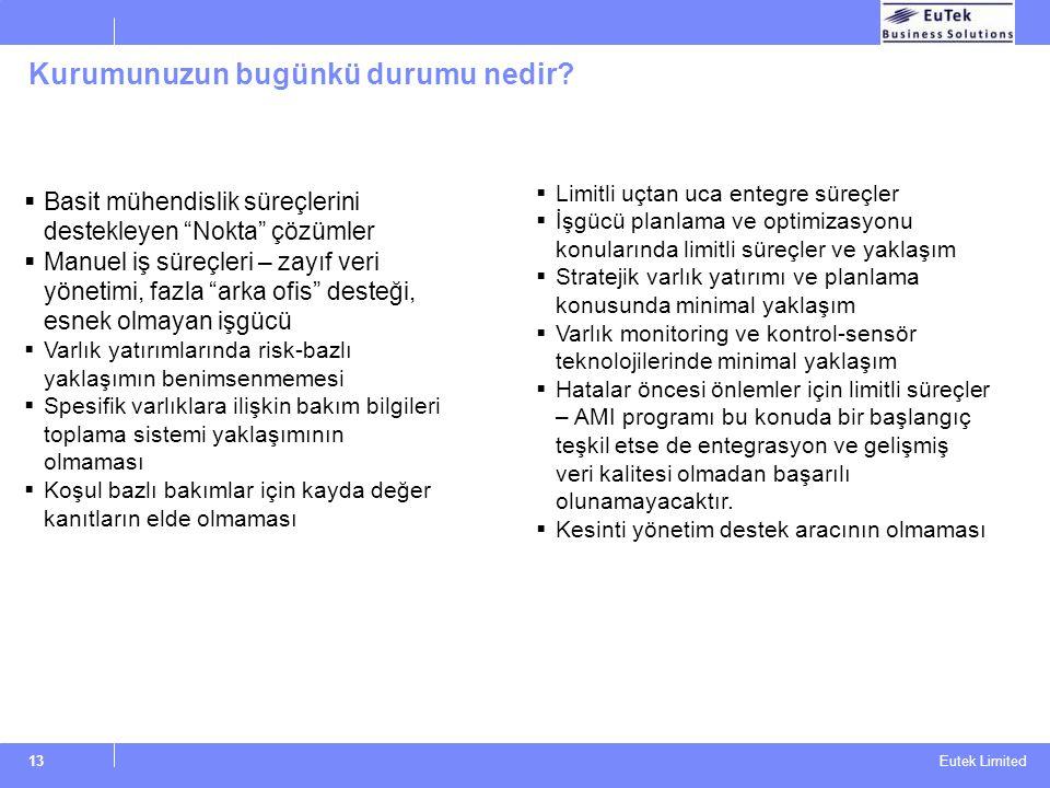 """Eutek Limited 13 Kurumunuzun bugünkü durumu nedir?  Basit mühendislik süreçlerini destekleyen """"Nokta"""" çözümler  Manuel iş süreçleri – zayıf veri yön"""