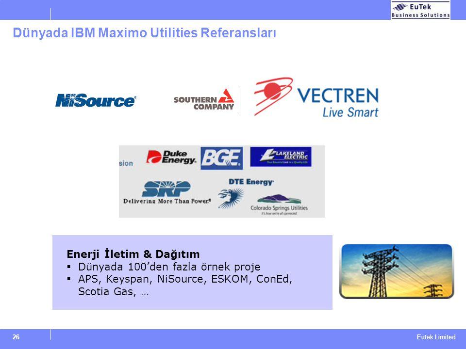 Eutek Limited 26 Dünyada IBM Maximo Utilities Referansları Enerji İletim & Dağıtım  Dünyada 100'den fazla örnek proje  APS, Keyspan, NiSource, ESKOM