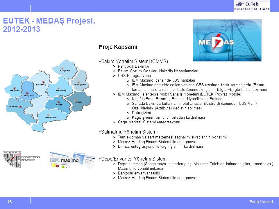 Eutek Limited EUTEK - MEDAŞ Projesi, 2012-2013 28 Proje Kapsamı Bakım Yönetim Sistemi (CMMS)  Periyodik Bakımlar  Bakım Çözüm Ortakları Hakediş Hesa