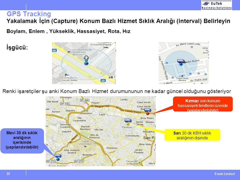 Eutek Limited GPS Tracking Yakalamak İçin (Capture) Konum Bazlı Hizmet Sıklık Aralığı (interval) BeIirleyin Boylam, Enlem, Yükseklik, Hassasiyet, Rota