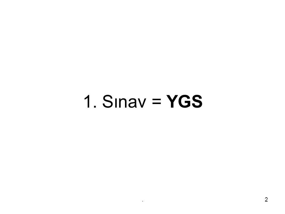 13 MF PUANI MF Sınav CEVAPLANACAK TESTLER SORU SAYILAR I Süre YGS 1 ve 2 Türkçe Temel Matematik Fen Bilimleri (Fizik, Kimya, Biyoloji) Sosyal Bilimler (Tarih, İnk.