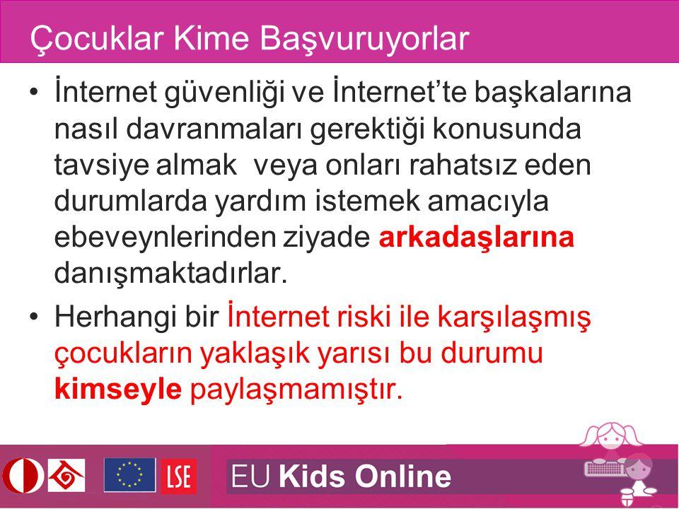 Çocuklar Kime Başvuruyorlar İnternet güvenliği ve İnternet'te başkalarına nasıl davranmaları gerektiği konusunda tavsiye almak veya onları rahatsız ed