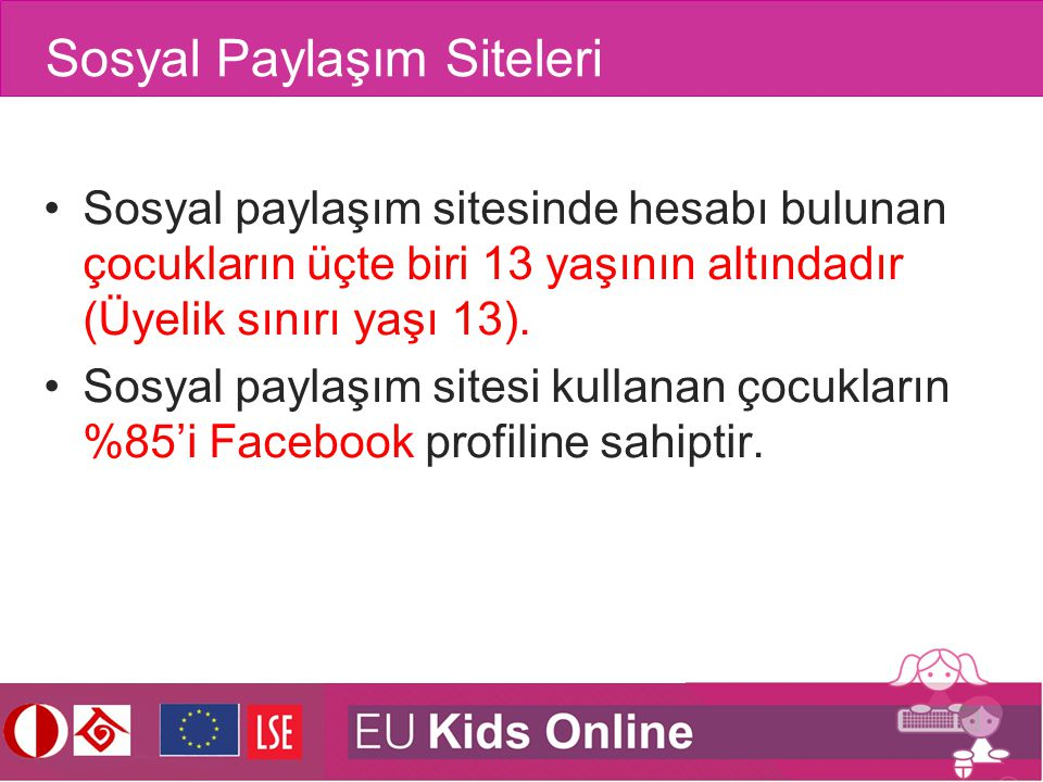 Sosyal Paylaşım Siteleri Sosyal paylaşım sitesinde hesabı bulunan çocukların üçte biri 13 yaşının altındadır (Üyelik sınırı yaşı 13). Sosyal paylaşım