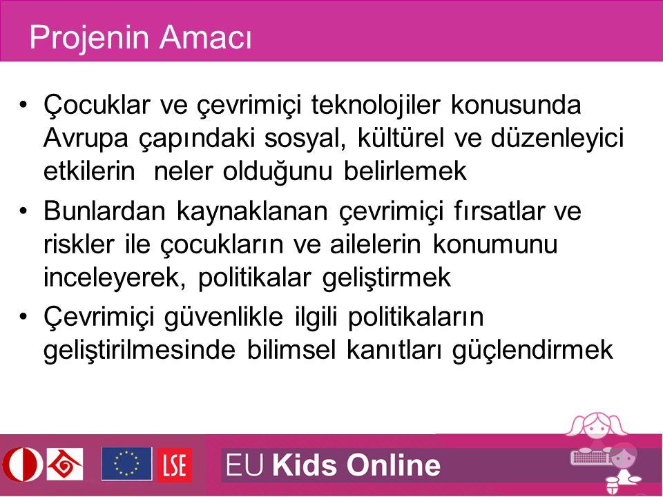 Projenin Amacı Çocuklar ve çevrimiçi teknolojiler konusunda Avrupa çapındaki sosyal, kültürel ve düzenleyici etkilerin neler olduğunu belirlemek Bunla