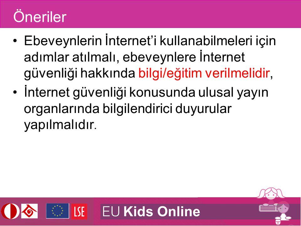 Öneriler Ebeveynlerin İnternet'i kullanabilmeleri için adımlar atılmalı, ebeveynlere İnternet güvenliği hakkında bilgi/eğitim verilmelidir, İnternet g