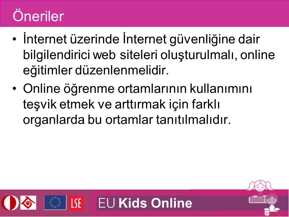 Öneriler İnternet üzerinde İnternet güvenliğine dair bilgilendirici web siteleri oluşturulmalı, online eğitimler düzenlenmelidir. Online öğrenme ortam