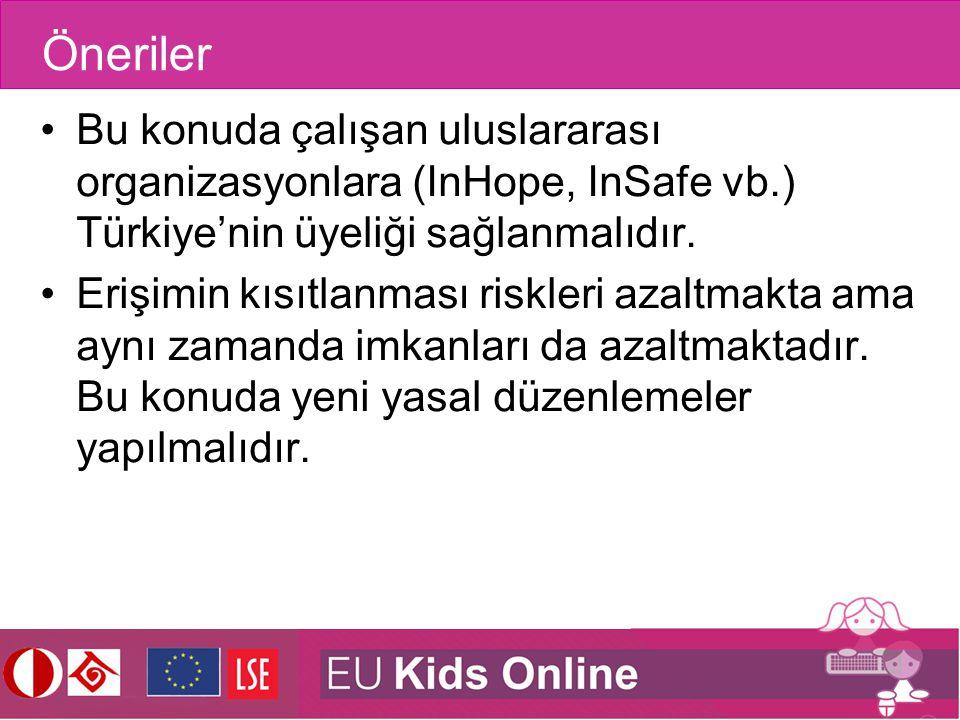 Öneriler Bu konuda çalışan uluslararası organizasyonlara (InHope, InSafe vb.) Türkiye'nin üyeliği sağlanmalıdır. Erişimin kısıtlanması riskleri azaltm