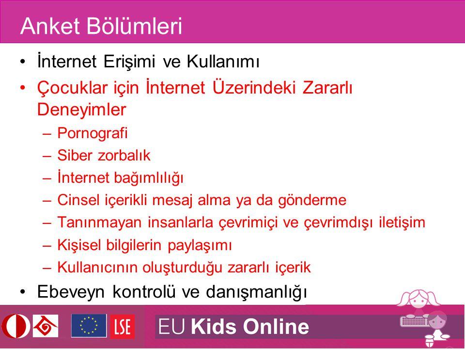 Anket Bölümleri İnternet Erişimi ve Kullanımı Çocuklar için İnternet Üzerindeki Zararlı Deneyimler –Pornografi –Siber zorbalık –İnternet bağımlılığı –