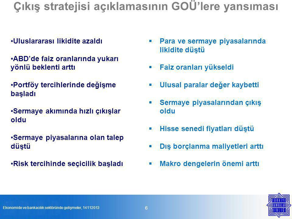 Türkiye ekonomisinde gelişmeler Küresel riskler performansı etkiliyor Dış talebin büyümeye katkısı zayıf, iç talep önemini koruyor Sermaye giriş–çıkışları piyasa riskini arttırdı Özel sektörde tasarruf oranı düştü Enflasyon hedefin üzerinde Kredi büyümesi hızlandı 7 Ekonomide ve bankacılık sektöründe gelişmeler, 14112013 Büyüme ve istihdam artışı sürüyor, dış talebin katkısı sınırlı Tasarruf açığı yeniden arttı Reel faiz oranı düştü Kredi büyümesi iç talebi destekliyor Para ve ihtiyatlı bankacılık politikaları sıkılaştırıcı yönde Finansal olmayan şirketlerin kur riski yukarı yönlü