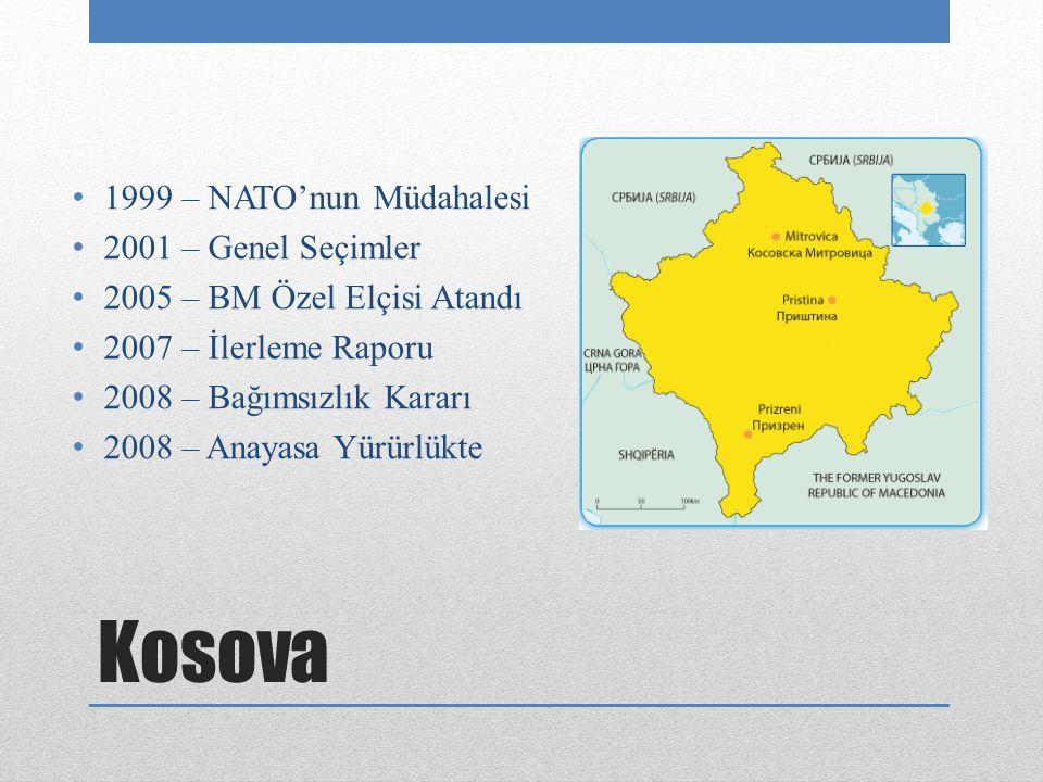 Kosova 1999 – NATO'nun Müdahalesi 2001 – Genel Seçimler 2005 – BM Özel Elçisi Atandı 2007 – İlerleme Raporu 2008 – Bağımsızlık Kararı 2008 – Anayasa Yürürlükte