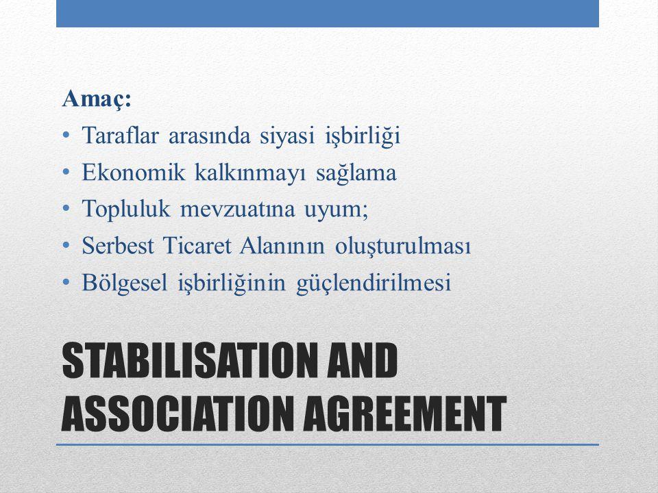 STABILISATION AND ASSOCIATION AGREEMENT Amaç: Taraflar arasında siyasi işbirliği Ekonomik kalkınmayı sağlama Topluluk mevzuatına uyum; Serbest Ticaret Alanının oluşturulması Bölgesel işbirliğinin güçlendirilmesi