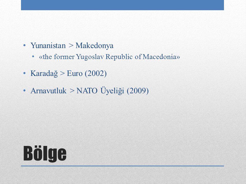 Bölge Yunanistan > Makedonya «the former Yugoslav Republic of Macedonia» Karadağ > Euro (2002) Arnavutluk > NATO Üyeliği (2009)
