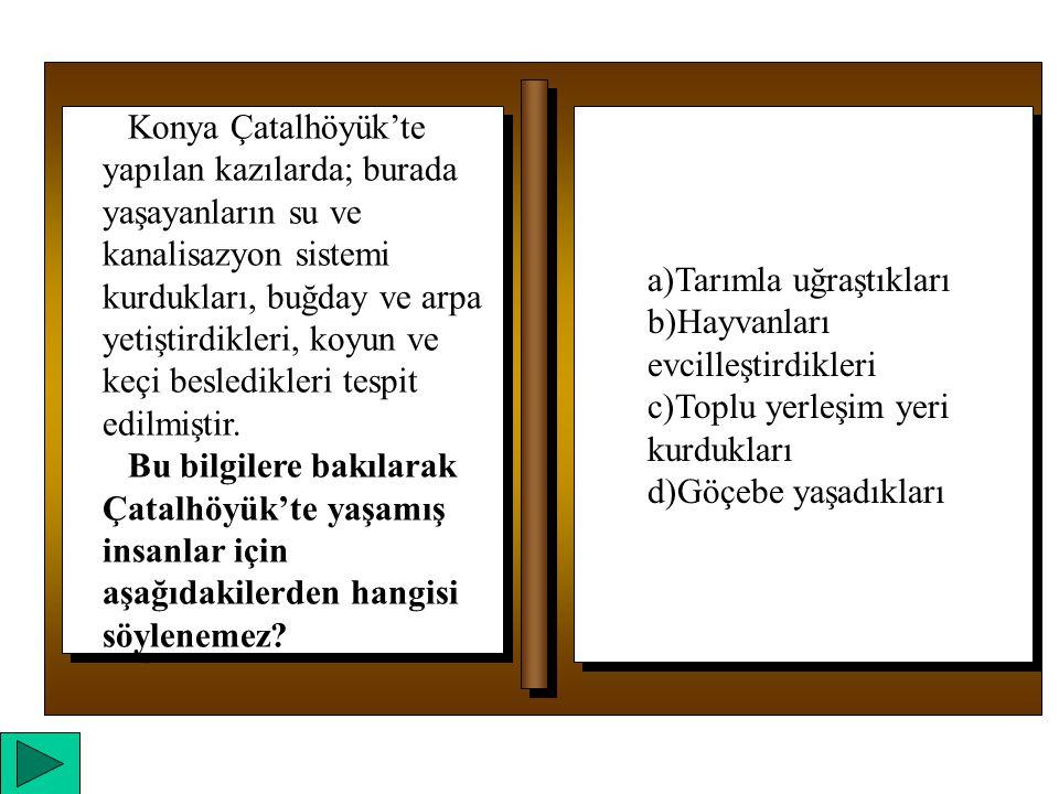 a)Tarımla uğraştıkları b)Hayvanları evcilleştirdikleri c)Toplu yerleşim yeri kurdukları d)Göçebe yaşadıkları a)Tarımla uğraştıkları b)Hayvanları evcilleştirdikleri c)Toplu yerleşim yeri kurdukları d)Göçebe yaşadıkları Konya Çatalhöyük'te yapılan kazılarda; burada yaşayanların su ve kanalisazyon sistemi kurdukları, buğday ve arpa yetiştirdikleri, koyun ve keçi besledikleri tespit edilmiştir.