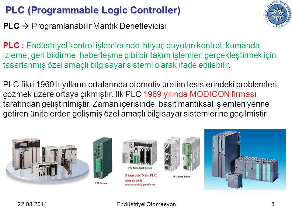 22.08.20143Endüstriyel Otomasyon PLC (Programmable Logic Controller) PLC  Programlanabilir Mantık Denetleyicisi PLC : Endüstriyel kontrol işlemlerind