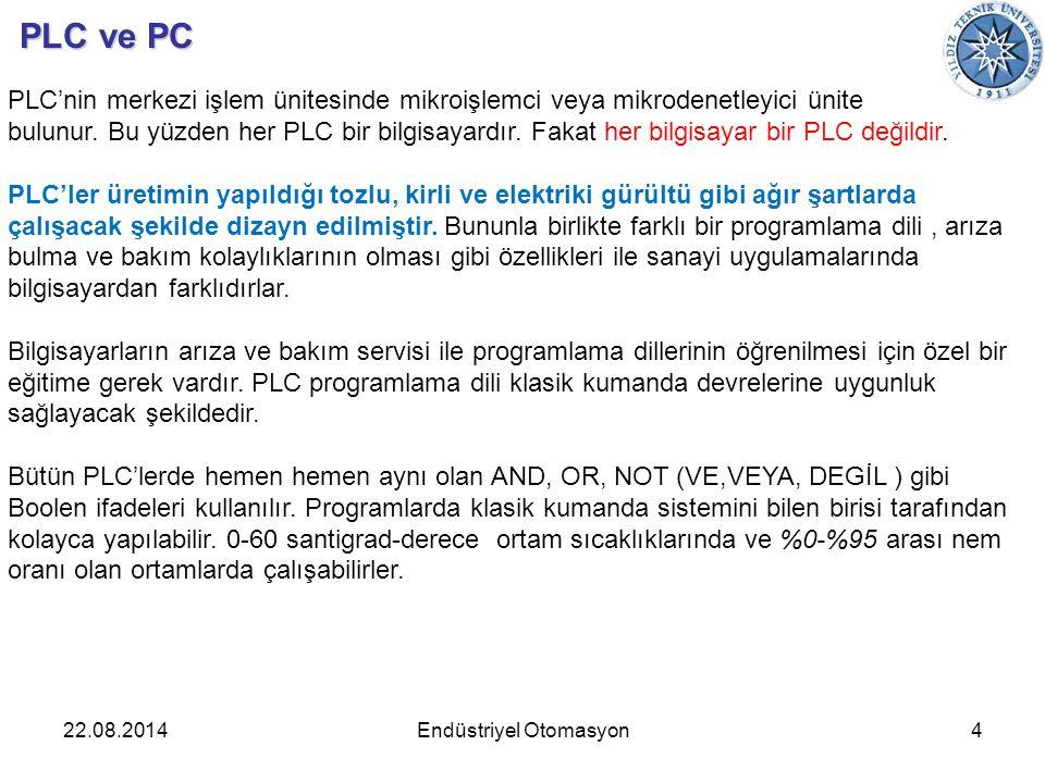 22.08.2014Endüstriyel Otomasyon4 PLC ve PC PLC'nin merkezi işlem ünitesinde mikroişlemci veya mikrodenetleyici ünite bulunur. Bu yüzden her PLC bir bi