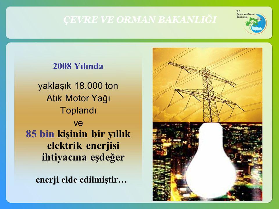 2008 Yılında yaklaşık 18.000 ton Atık Motor Yağı Toplandı ve 85 bin kişinin bir yıllık elektrik enerjisi ihtiyacına eşdeğer enerji elde edilmiştir… ÇE