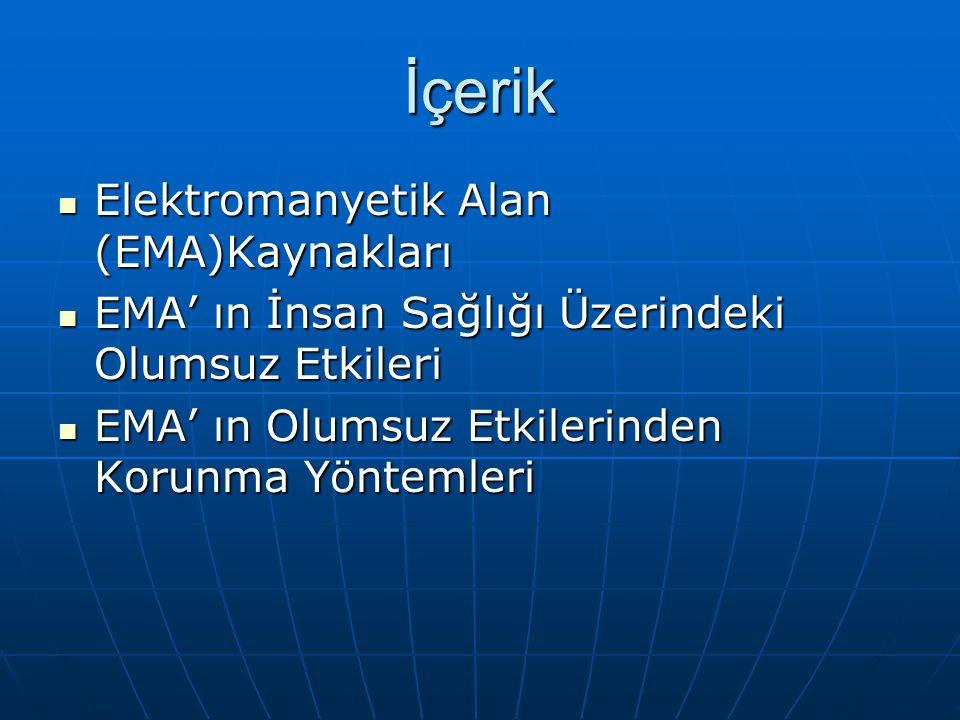 İçerik Elektromanyetik Alan (EMA)Kaynakları Elektromanyetik Alan (EMA)Kaynakları EMA' ın İnsan Sağlığı Üzerindeki Olumsuz Etkileri EMA' ın İnsan Sağlı