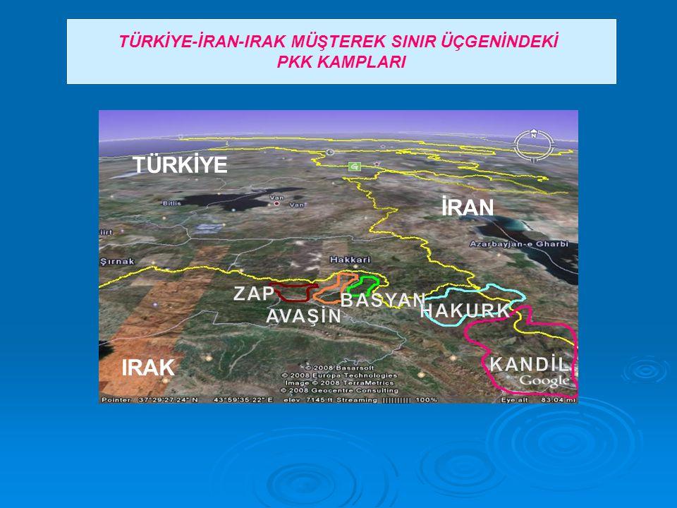 TÜRKİYE-İRAN-IRAK MÜŞTEREK SINIR ÜÇGENİNDEKİ PKK KAMPLARI TÜRKİYE İRAN IRAK