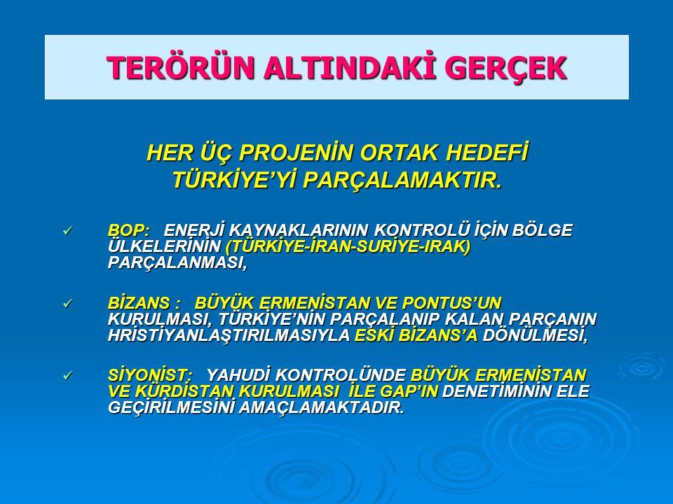 HER ÜÇ PROJENİN ORTAK HEDEFİ TÜRKİYE'Yİ PARÇALAMAKTIR.