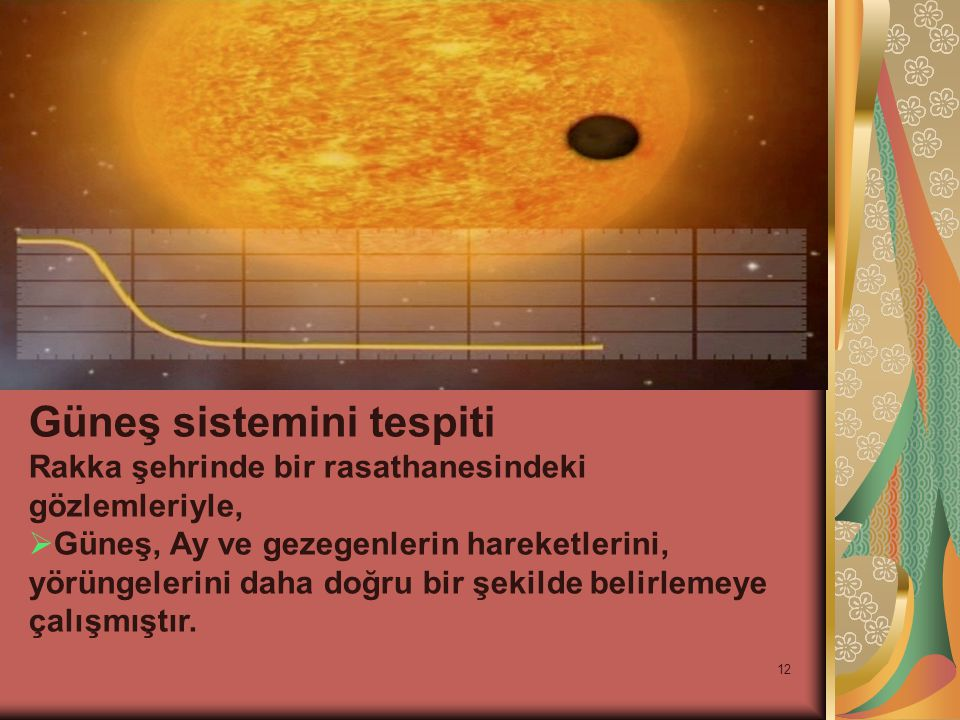 12 Güneş sistemini tespiti Rakka şehrinde bir rasathanesindeki gözlemleriyle,  Güneş, Ay ve gezegenlerin hareketlerini, yörüngelerini daha doğru bir şekilde belirlemeye çalışmıştır.
