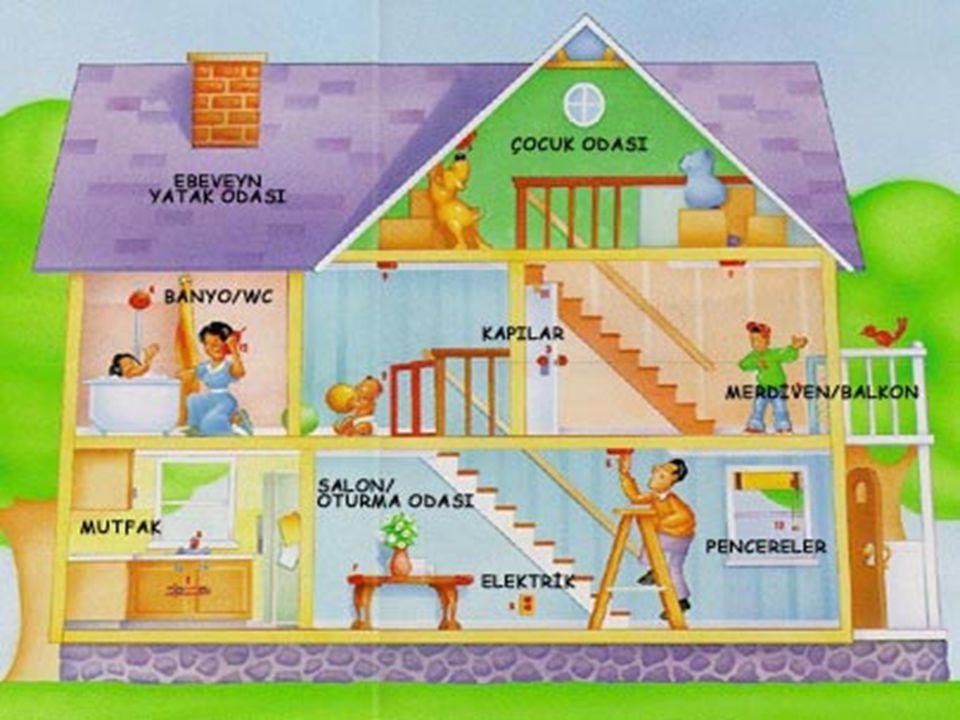 Ev kazaları evde veya evin bulunduğu çevrede meydana gelen kazalar tüm kazaların yarısından fazlasının ev içi ve bahçede Ev içi olarak oturma, yatak ve yemek odası, mutfak, banyo, tuvalet,merdivenler balkon ve evin girişi gibi alanlar Evin çevresi kapsamına ise bahçe, park ve garaj Ev kazaları vaktinin büyük kısmını evde geçiren kişileri, yaşlıları, kadınları ve çocukları