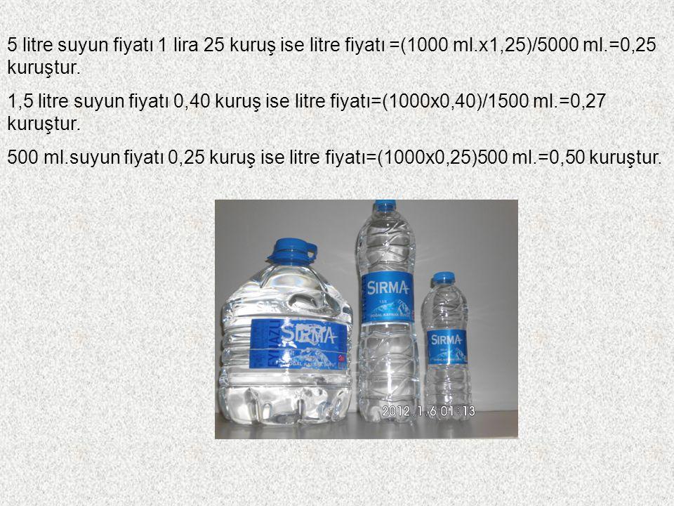 1 litre kolanın fiyatı 0,65 kuruş ise 330 ml.kolanın fiyatı 0,55 kuruş olduğunda litre fiyatı=(1000 ml.x 0,55)/330 ml.=1 lira 67 kuruş olur.Bu durumda 1 litrelik kolayı almak daha avantajlıdır.