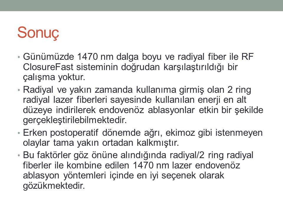 Sonuç Günümüzde 1470 nm dalga boyu ve radiyal fiber ile RF ClosureFast sisteminin doğrudan karşılaştırıldığı bir çalışma yoktur.