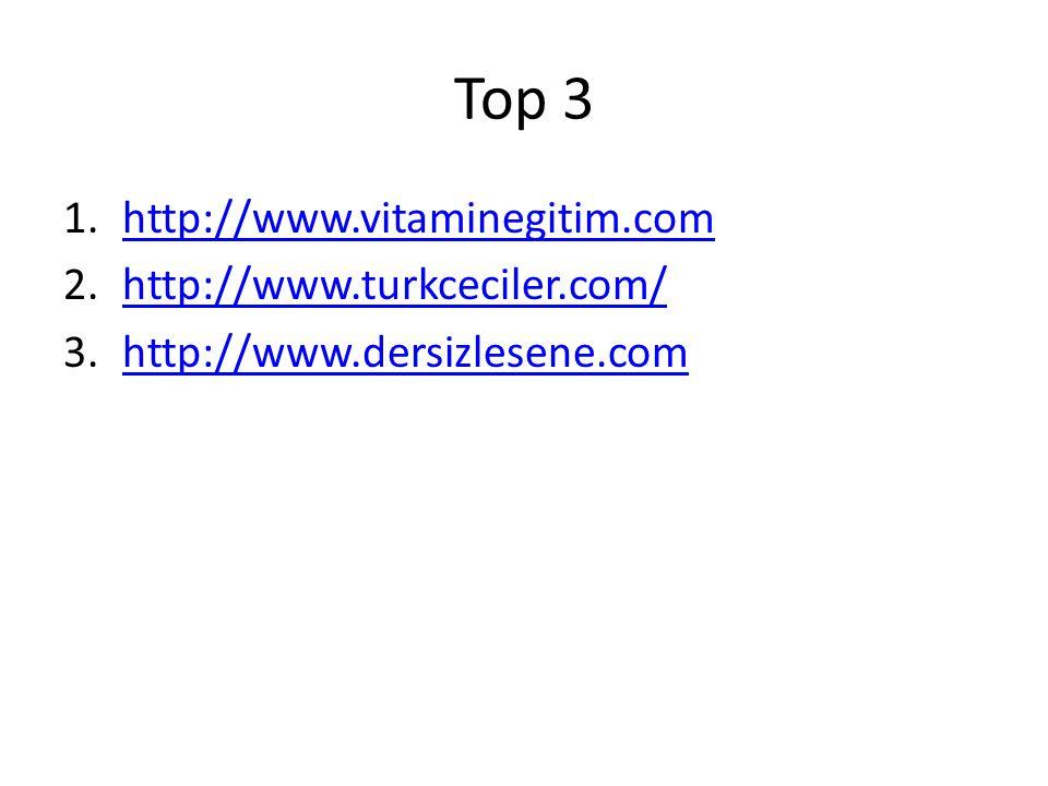 Top 3 1.http://www.vitaminegitim.comhttp://www.vitaminegitim.com 2.http://www.turkceciler.com/http://www.turkceciler.com/ 3.http://www.dersizlesene.comhttp://www.dersizlesene.com