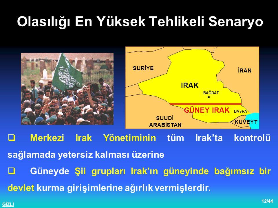 GİZLİ 13/44  Kuzey Irak'ta Kürt grupları; bölgeye hakim olma ve Kuzey Irak'ta bağımsız bir Kürt Devleti oluşturma gayreti içine girmişler, Musul ve Kerkük'ü kontrol altına almışlardır.