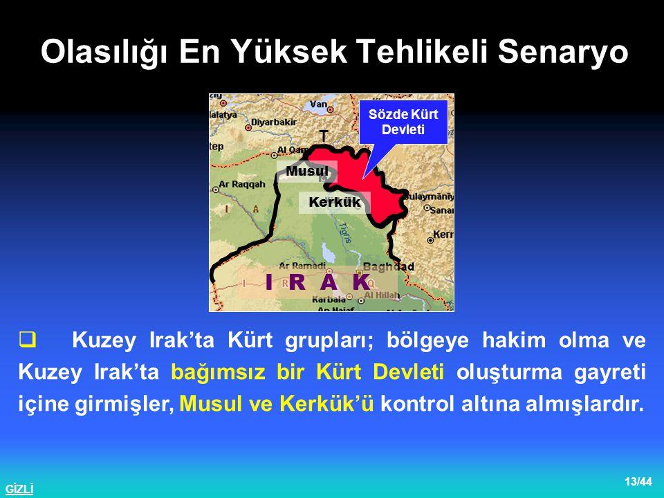 GİZLİ 14/44  KADEK (PKK); KDP ve KYB'nin dolaylı onayını alarak Kuzey Irak'ta bulunan TSK'ne yönelik eylemler gerçekleştirme kararı almıştır.